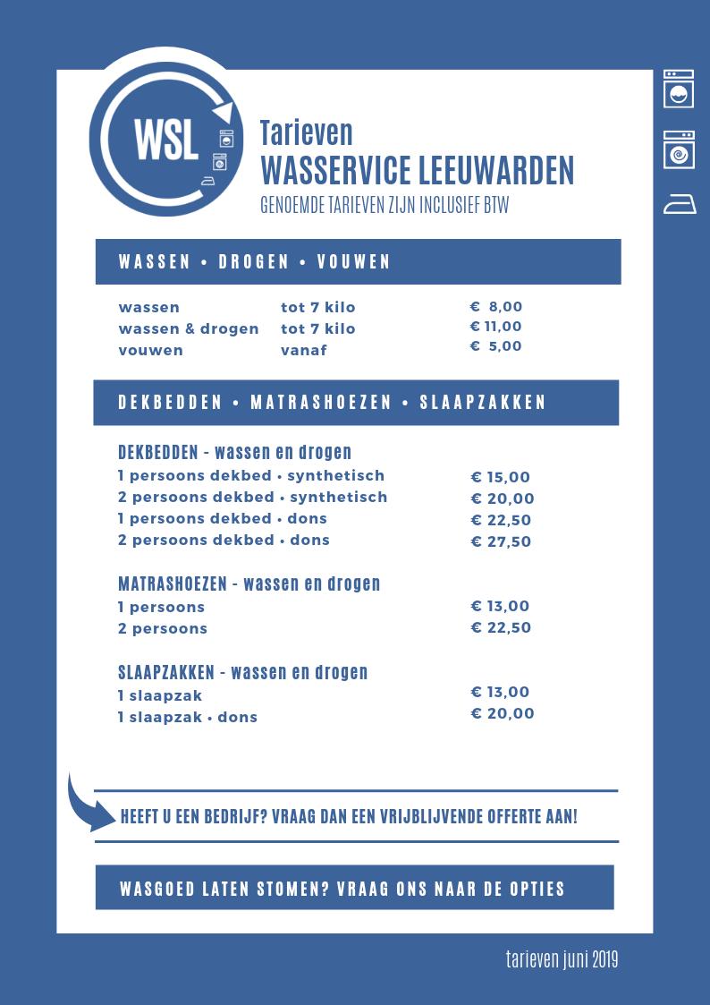 prijzen wasservice Leeuwarden
